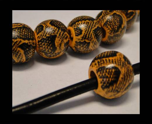 Buy Snake Wooden Beads- Yellow -16mm,Hole 6mm at wholesale prices