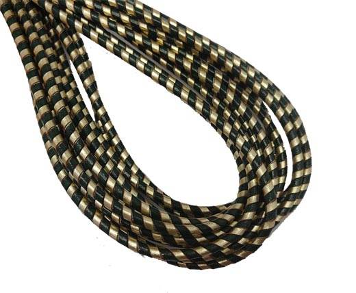 Round Stitched Nappa Leather Cord-4mm-spiral green gold