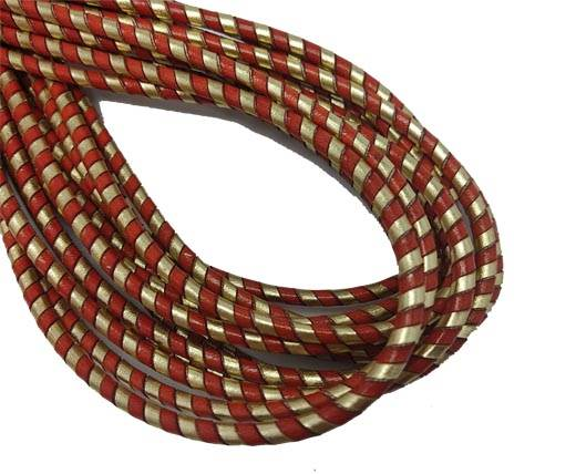 Round Stitched Nappa Leather Cord-4mm-spiral red gold