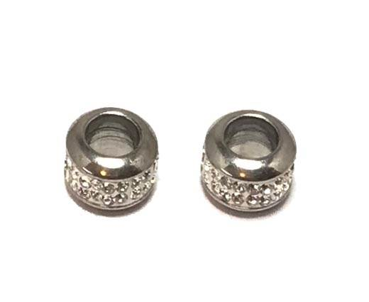 Stainless steel part for round leather SSP-366-5mm-crystal