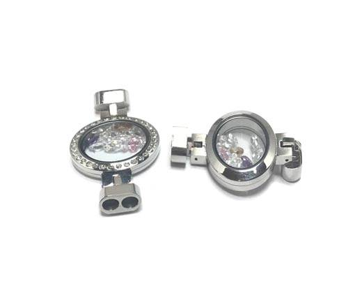 Stainless steel part for round leather SSP-610 silver-4mm