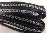 Stainless steel chain on leather-style 14-10mm-black