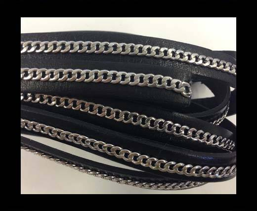 Buy Stainless steel chain on leather-style 14-10mm-black at wholesale prices