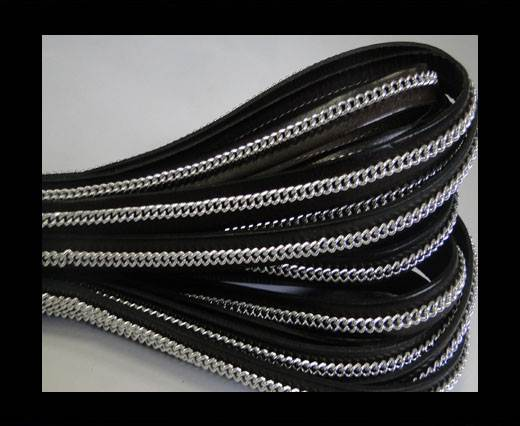 Buy Stainless steel chain on leather-style 14-10mm-Dark Brown at wholesale prices