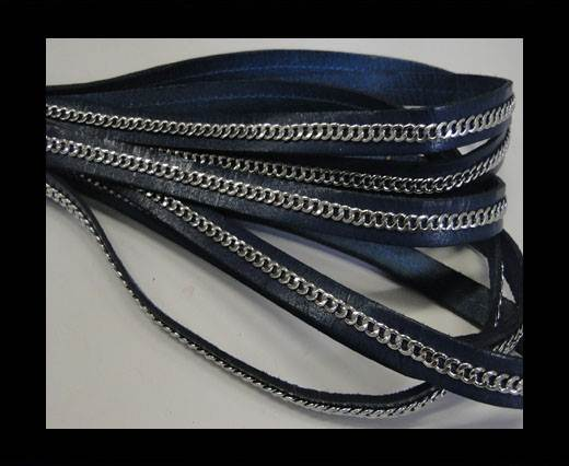 Buy Stainless steel chain on leather-style 14-10mm-Navy Blue at wholesale prices