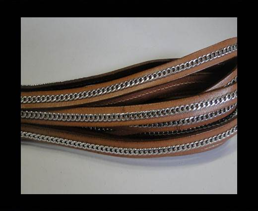 Buy Stainless steel chain on leather-style 14-10mm- Natural Nut at wholesale prices