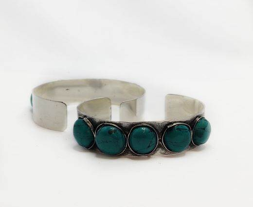 Turquoise Stone Brass Cuff -Style1