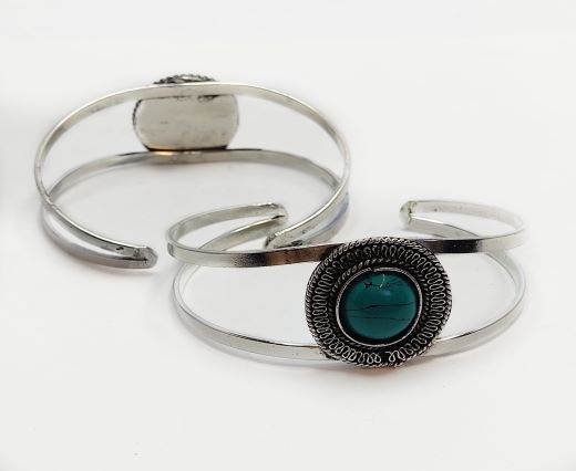 Turquoise Stone Brass Cuff -Style10