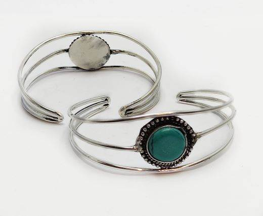 Turquoise Stone Brass Cuff -Style11
