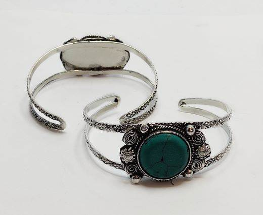 Turquoise Stone Brass Cuff -Style2