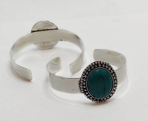 Turquoise Stone Brass Cuff -Style3