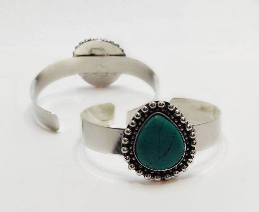 Turquoise Stone Brass Cuff -Style4