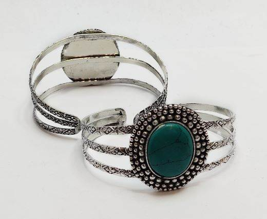 Turquoise Stone Brass Cuff -Style5