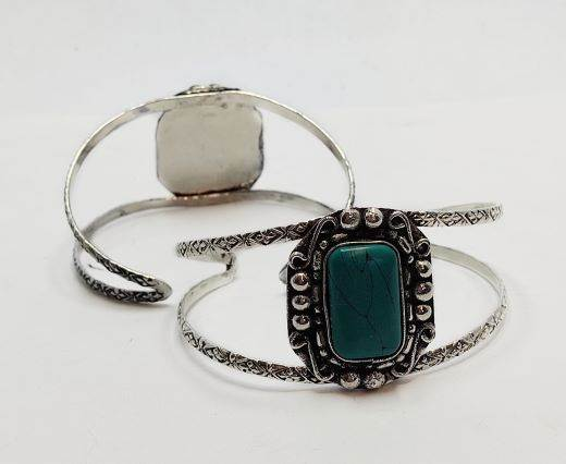 Turquoise Stone Brass Cuff -Style6