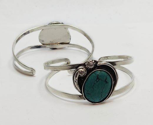 Turquoise Stone Brass Cuff -Style7