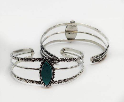 Turquoise Stone Brass Cuff -Style9