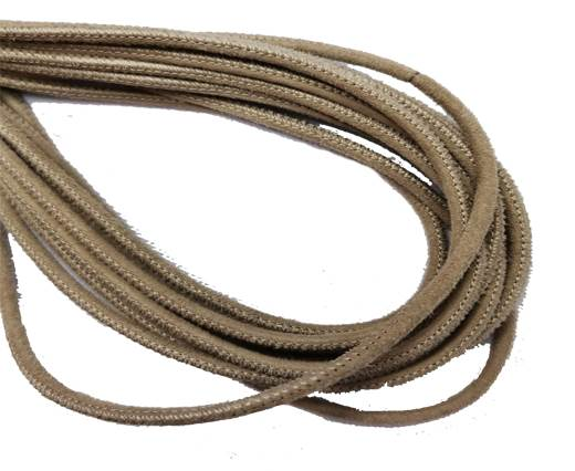 Round Stitched Leather Cord - 3mm - SUEDE BEIGE