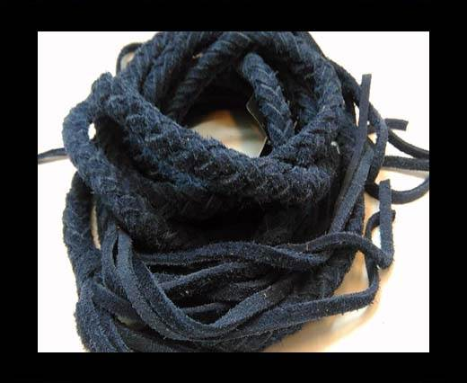 Suede Braided Belts with tassels - 8mm round -Navy Blue