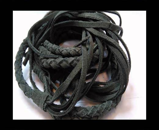 Suede Braided Belts with tassels - 8mm round -Dark Grey
