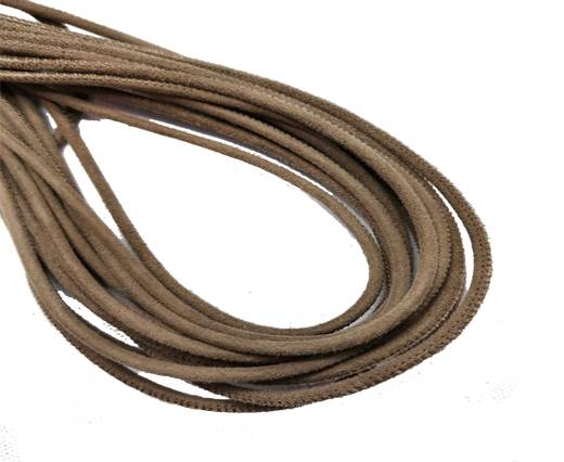 Round Stitched Leather Cord - 3mm - SUEDE BROWN