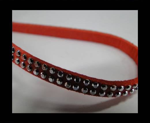 Suede Cord with studs-5mm-Silver-Watermelon Red