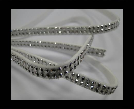Suede Cord with studs-5mm-Silver-White