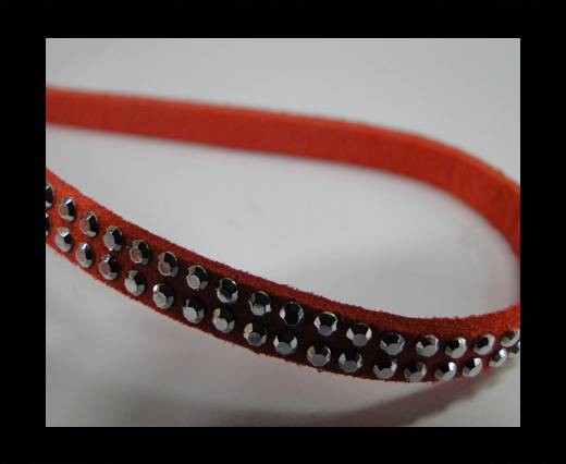 Suede Cord with Silver Shiny Studs -5mm-Watermelon Red