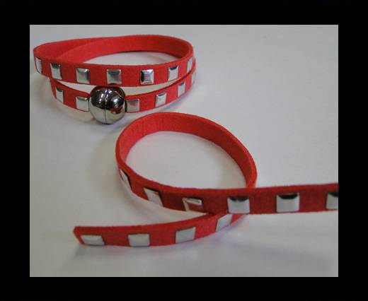 Suede Cord with Studs-7mm-Watermelon Red
