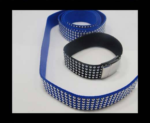 Suede Cord with Studs-20mm-5layers-Blue