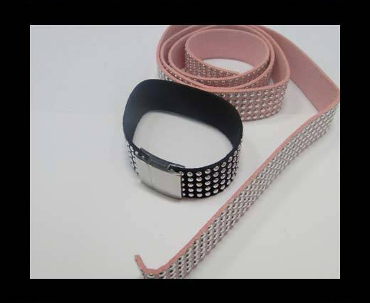 Suede Cord with Studs-20mm-5layers-Pink
