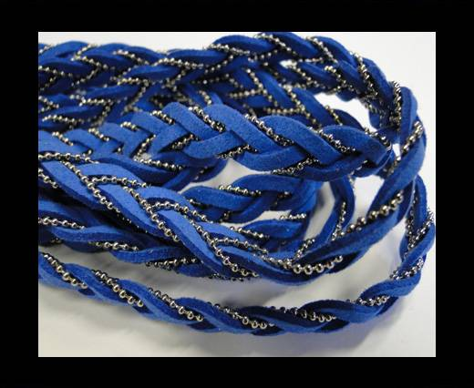 Suede cords with chains-10mm-blue
