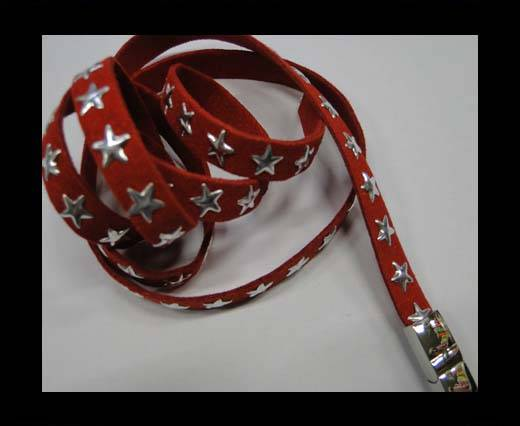 Suede Cords with Star Studs 10mm-Red