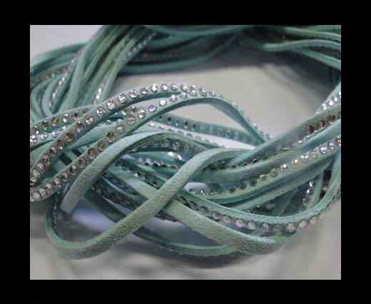 Suede Cords with Crystals 3mm-Turquoise
