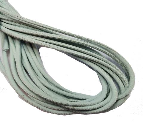 Round Stitched Leather Cord - 3mm - SUEDE SKY BLUE