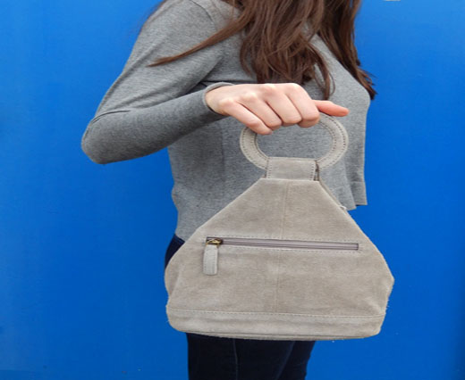 SuedeBag17 - Triangle Suede Bag -  Grey