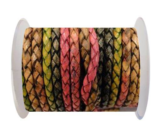 Round Braided Leather Cord SE/DM/05-Sunset - 4mm