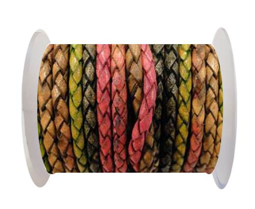 Round Braided Leather Cord SE/DM/05-Sunset - 3mm