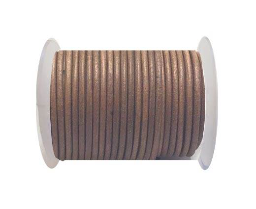 Round leather cord-4mm-  Tan