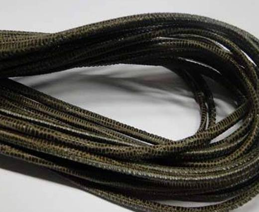 Round stitched nappa leather cord 2.5MM-Lizard style-Taupe