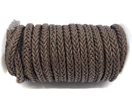 Square Braided Bolo Leather Cords-6mm-Taupe