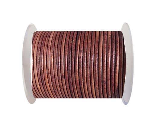 Round leather cord-2mm-SE  Vintage COGNEC