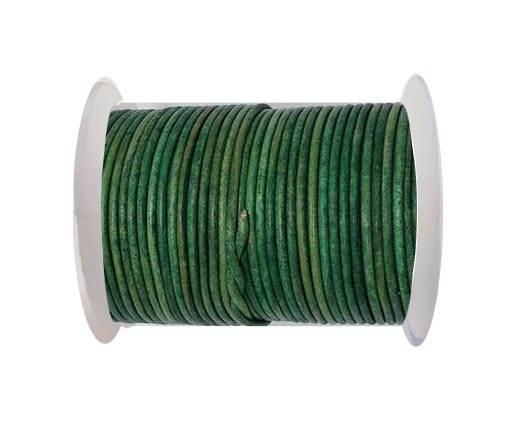 Round leather cord-2mm- Vintage DARK GREEN