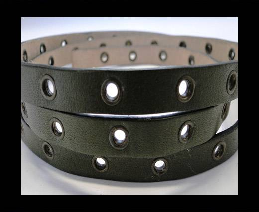 Vegetable tanned leather with hollow rivets - 10MM-SE-Hunter Gre
