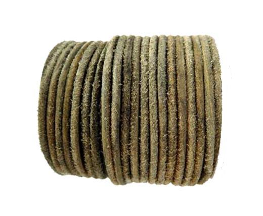 Round Hairy Leather -3mm-Vintage Black