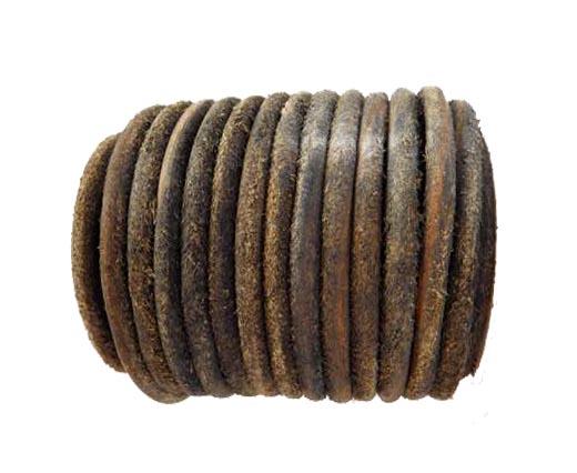 Round Hairy Leather -6mm-Vintage Black
