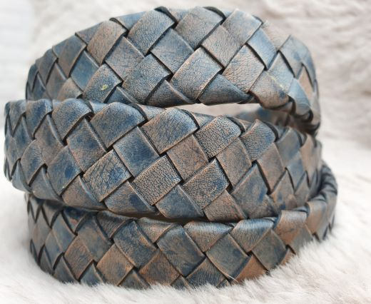 Oval Braided Leather Cord-19mm-Vintage blue