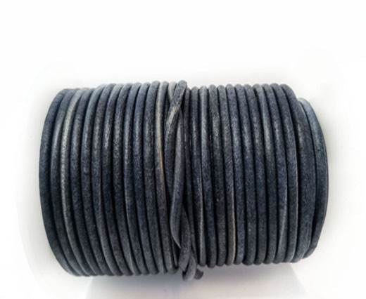 Round Leather cords  2,5mm - Vintage Blue