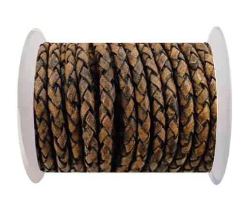 Round Braided Leather Cord SE/PB/13-Vintage Brown - 4mm