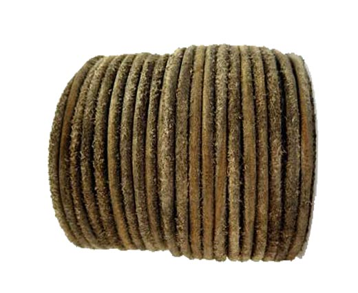 Round Hairy Leather -3mm-Vintage Brown