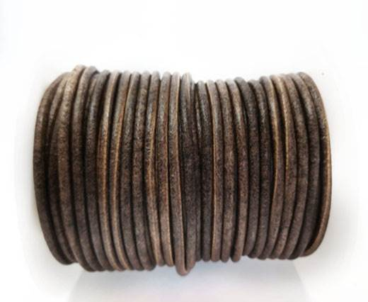 Round Leather cords  2,5mm - Vintage Brown